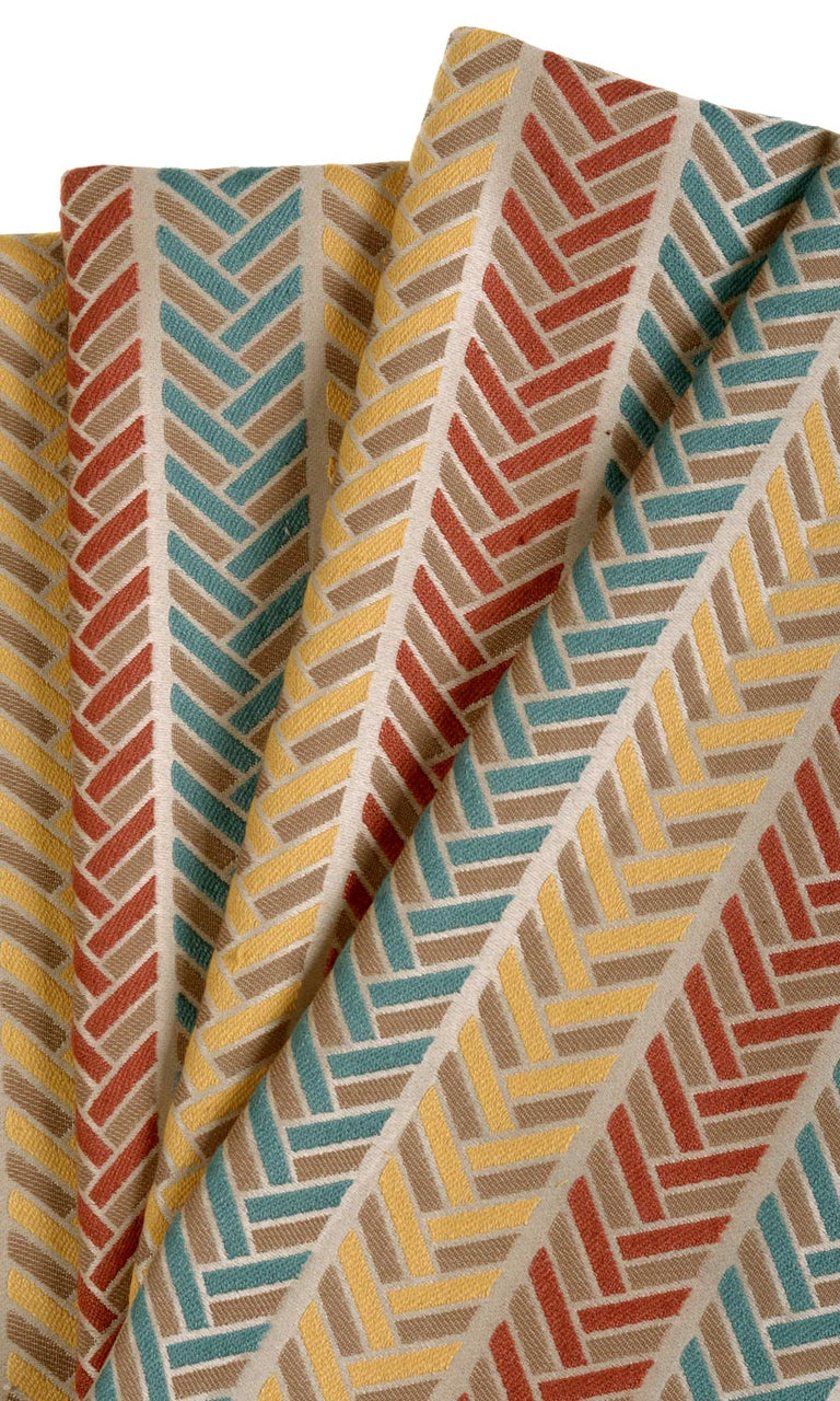 Vertical Herringbone Patterned Custom Curtains (Russet Red / Turquoise Blue / Daisy Yellow/ Khaki Beige) I Extra Long