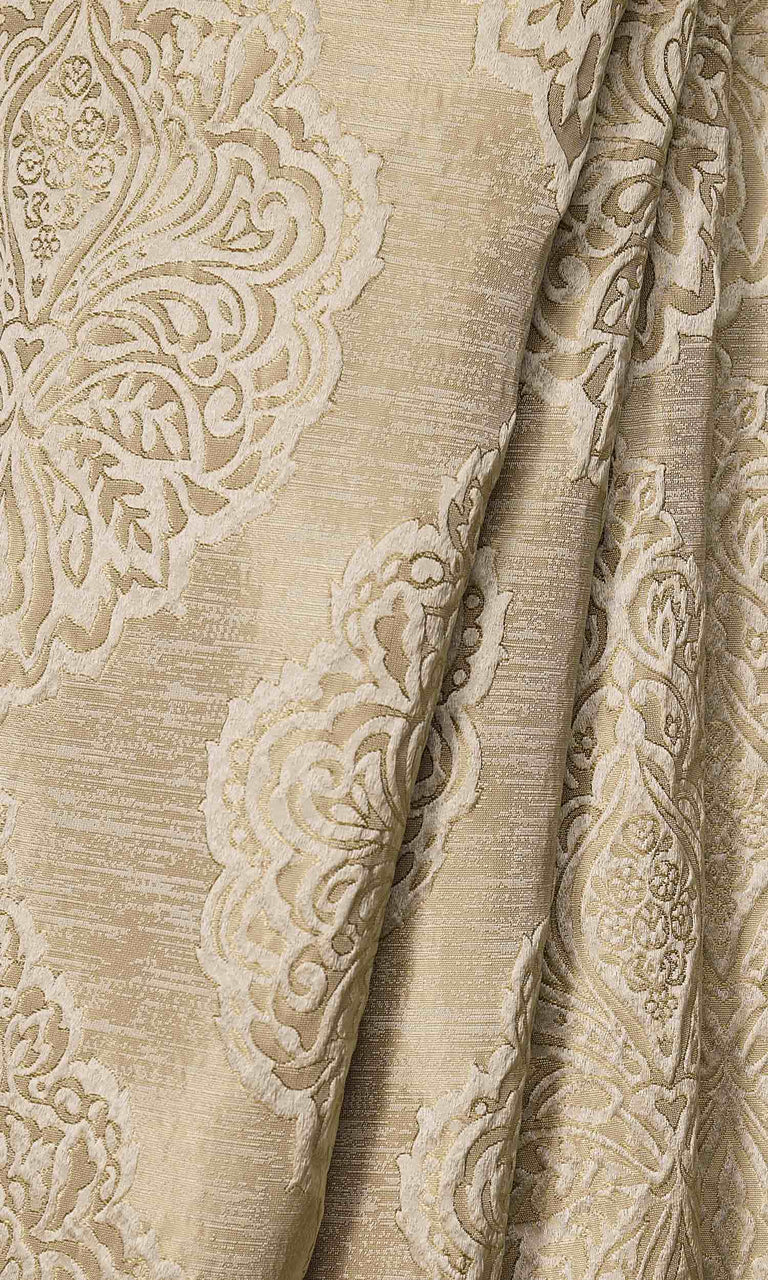 Beige/Champagne Gold Self Patterned Damask custom Curtains