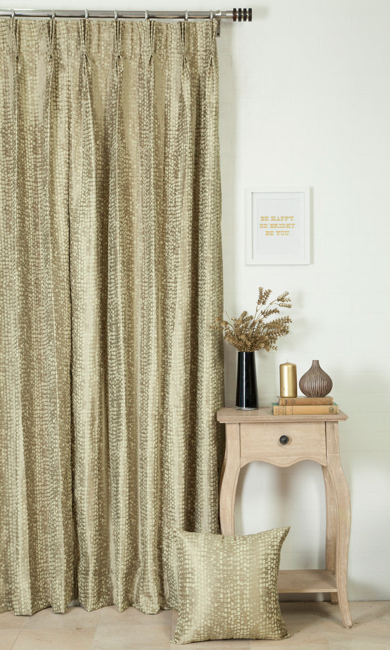 beige & green custom curtains image I Extra Long