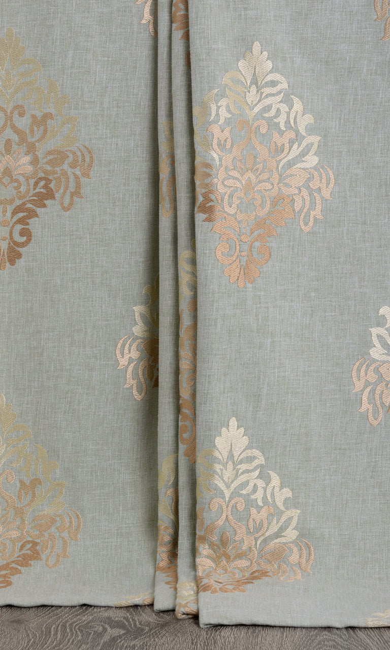 Damask patterned curtains