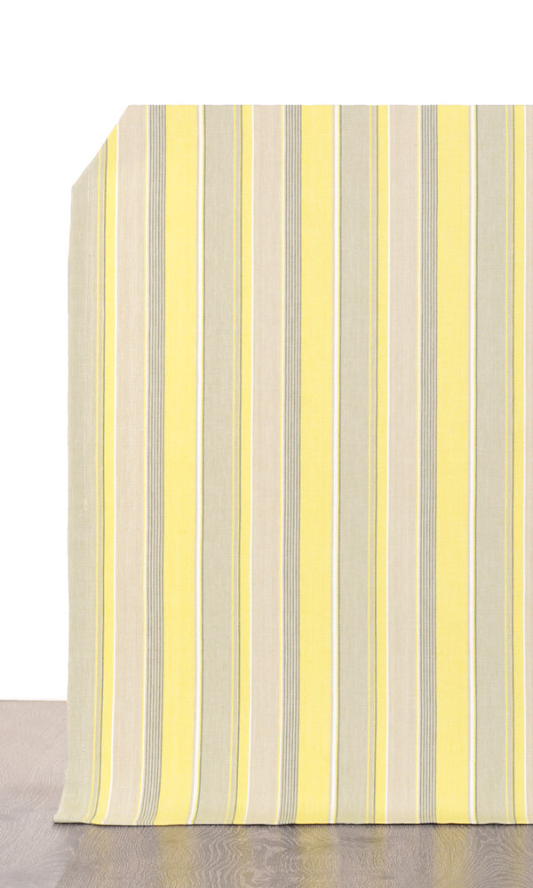 Yellow & Grey Striped Window Curtains