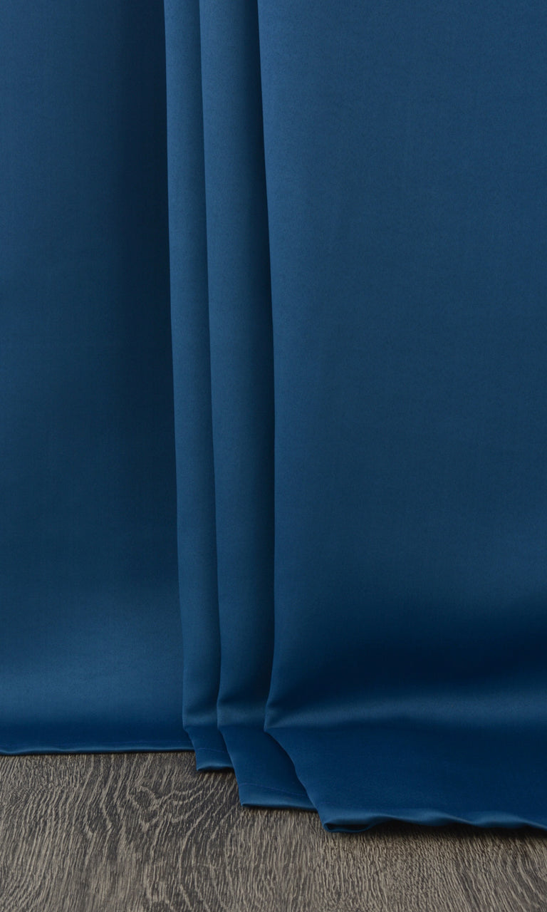 Plain Blue Room Darkening Blackout Bedroom Curtains Image. Narrow Curtains.