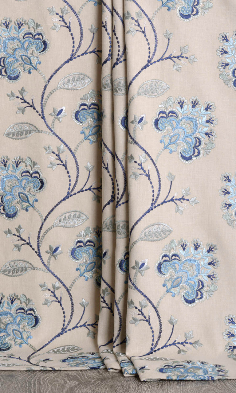 Floral Embroidered Cotton Blend Curtains I Extra Long