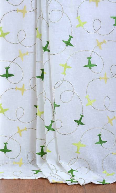 White / Green / Yellow Semi Sheer Linen custom Curtains