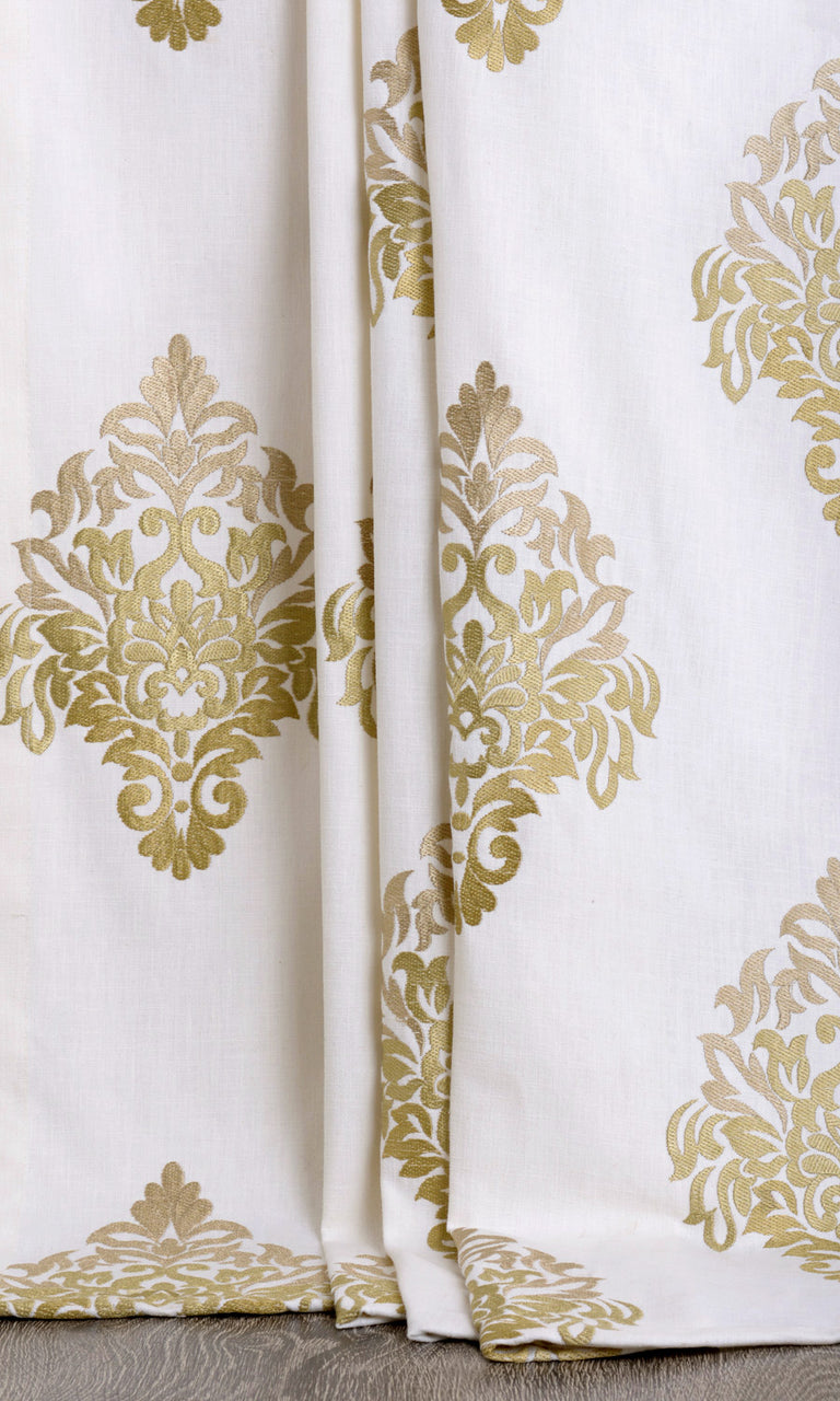 Damask patterned curtains. Narrow Curtains.