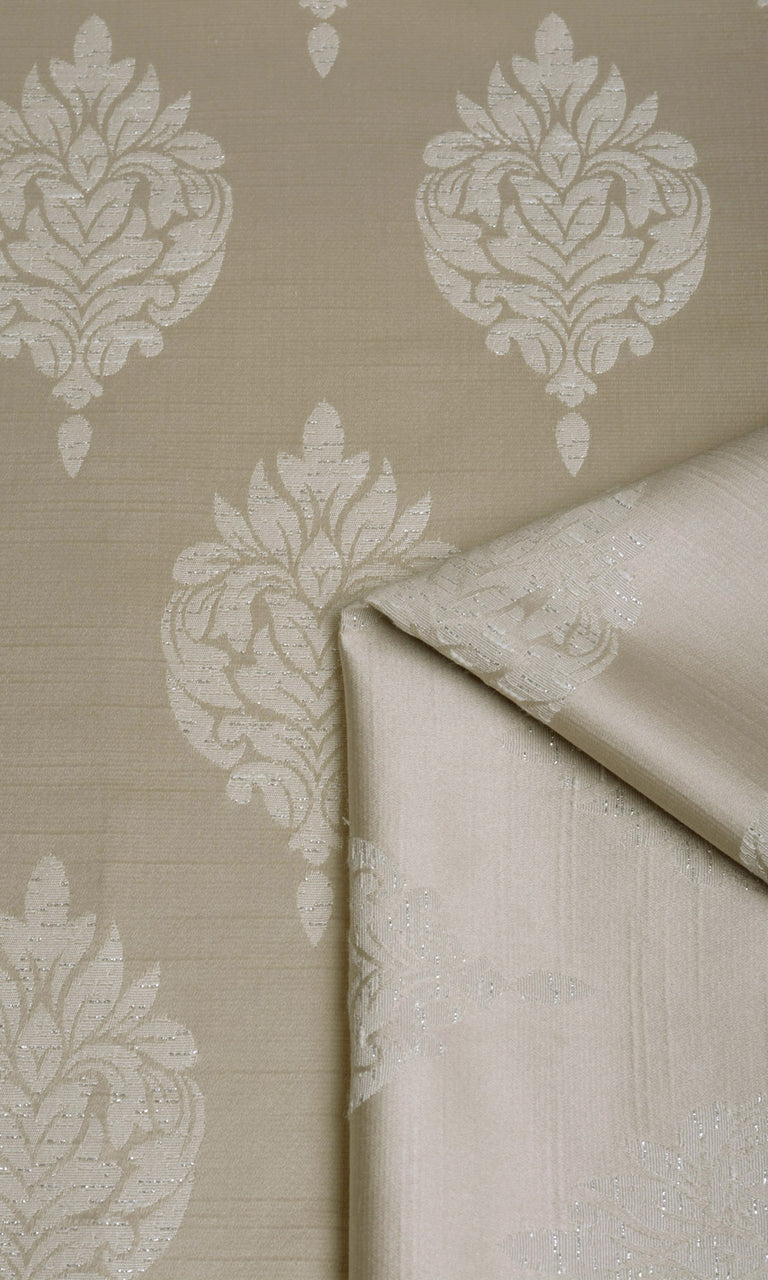 Brown Beige Self-Patterned Damask custom Curtains I Extra Long