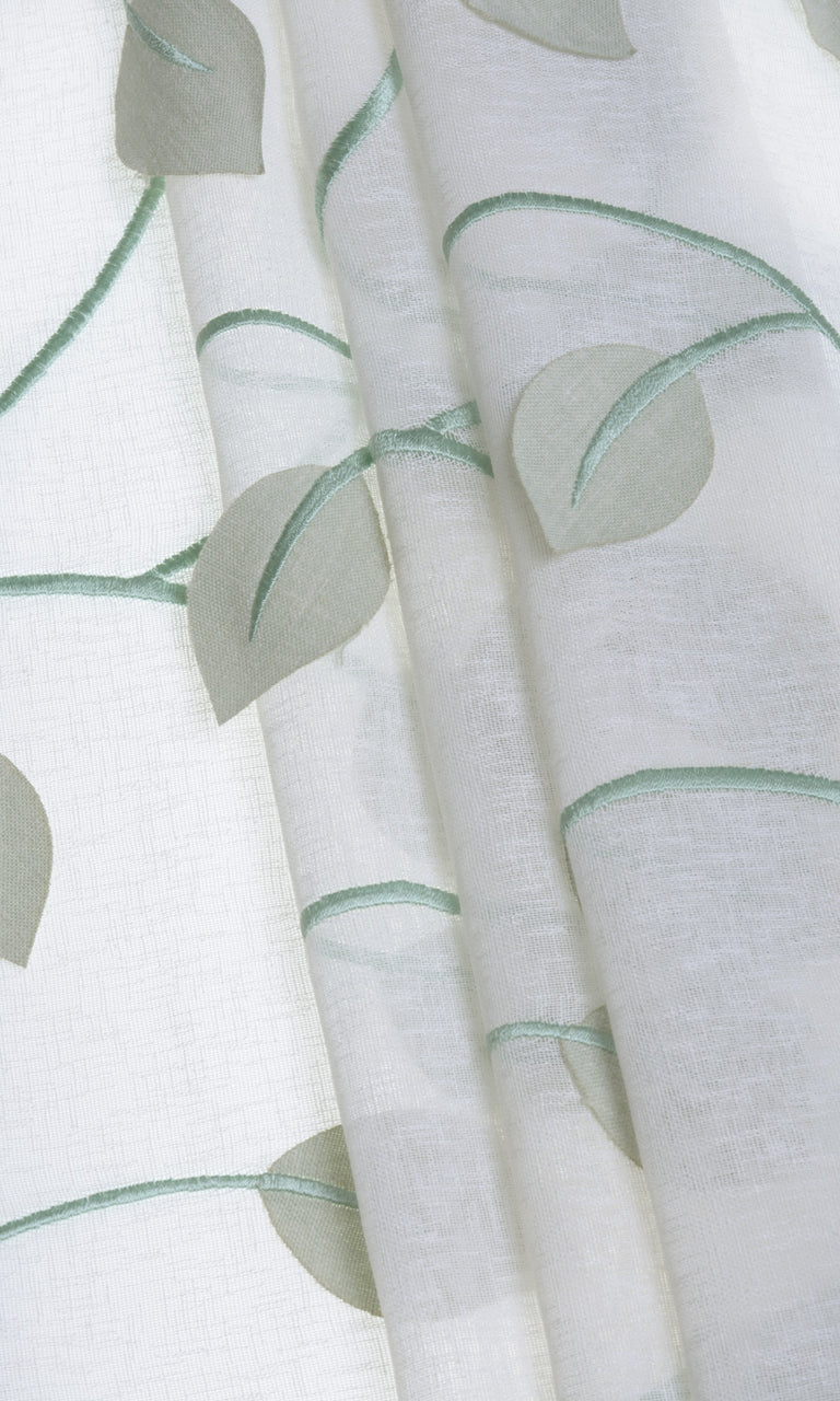 Floral white mint green linen sheer curtains. Narrow Curtains.