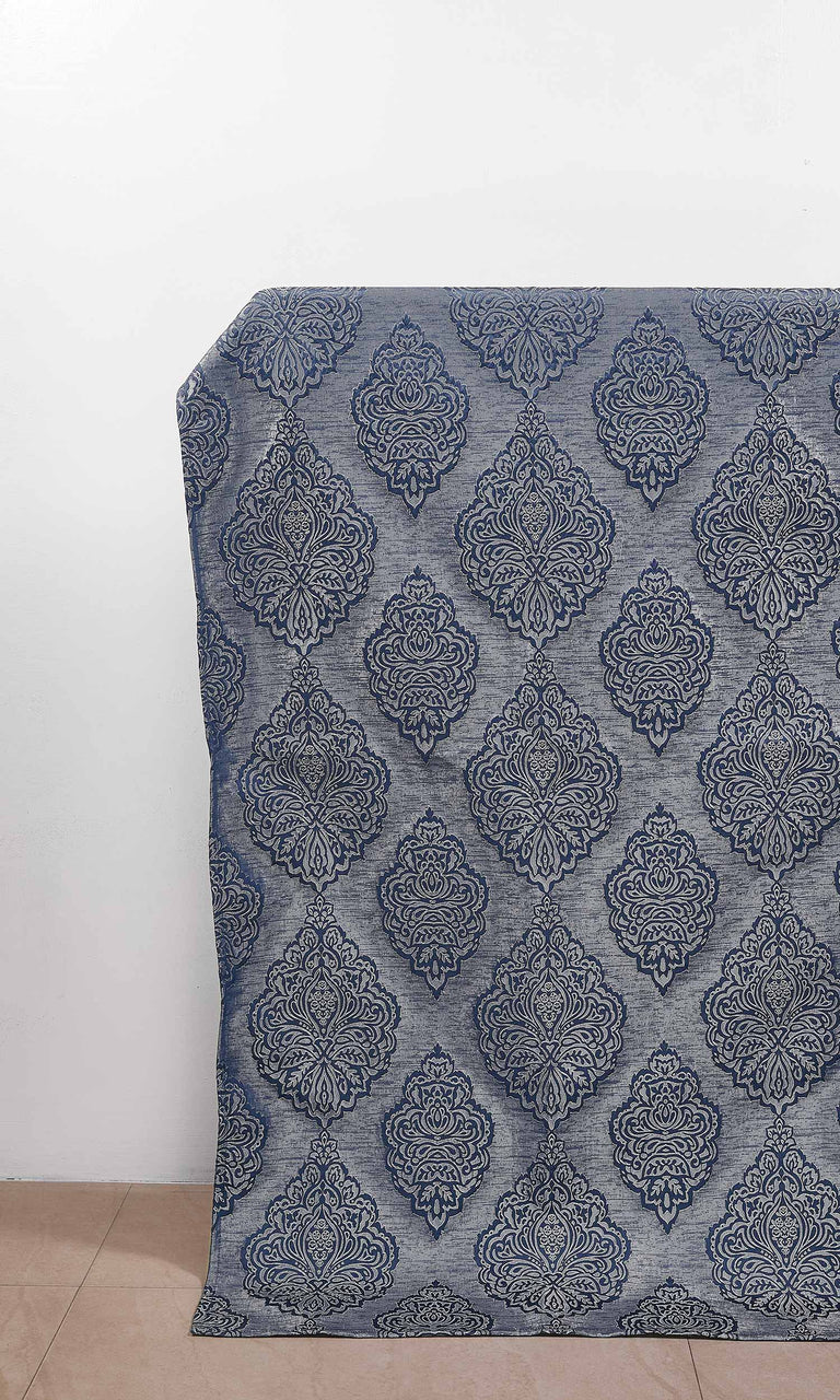 Navy Blue/Steel Gray Self Patterned Damask Embossed custom Curtains