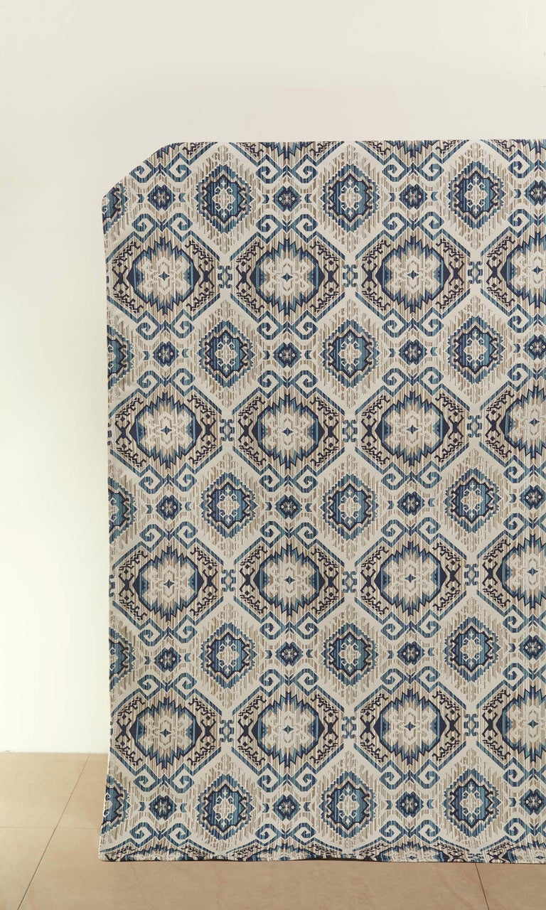 Pale Beige/ Sky Blue/ Navy Blue custom Curtains I Extra Long