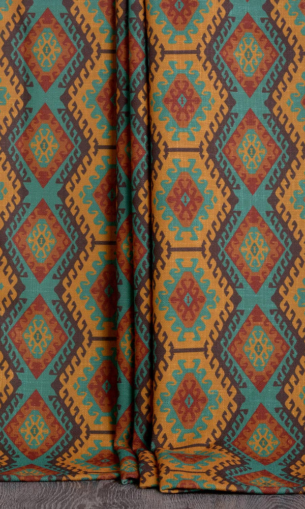 Kilim print curtains (Mustard Yellow / Blue / Orange)