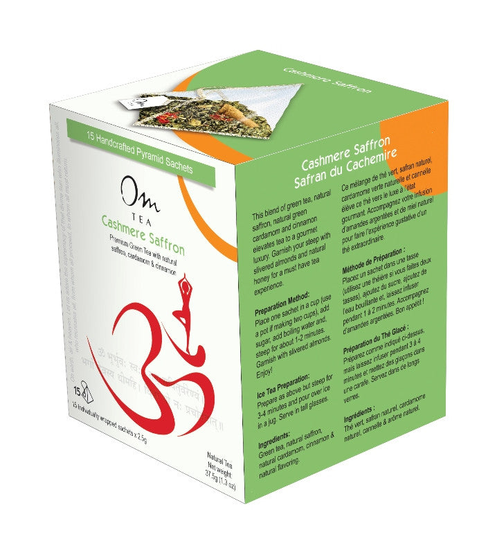 Om Tea Cashmere Saffron Chai Latte Premium Quality Chai Teas In Handcrafted Pyramid Tea Sachets Pyramid Tea Bags Organic Cotton Thread Natural Ingredients Box 70% Recycled Paper Non-Toxic Soy Ink