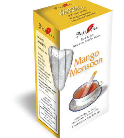 Mango Monsoon Tea Natural Mango Flavoured Fine Natural Black Tea  Petit Tea Infusers Tea Sticks Tea Infuser Tea Stick Loose Leaf Tea Natural Whole Leaf Tea In Tea Infusers Makes Hot Tea Iced Tea or Infuses Directly into Cocktail Spirits