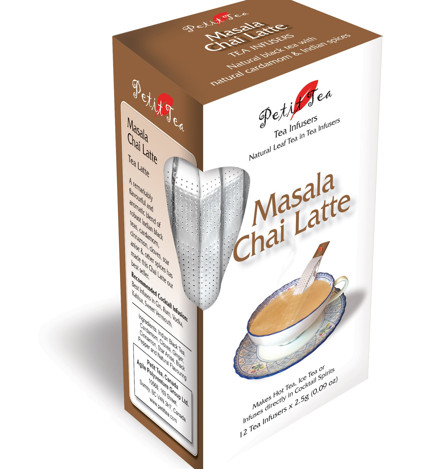 Masala Chai Latte Tea Infusers Natural Black Tea With Natural Cardamom & Indian Spices Cloves Cinnamon Pepper Petit Tea Tea Sticks Tea Infuser Tea Stick Loose Leaf Tea Natural Whole Leaf Tea In Tea Infusers Makes Hot Tea Iced Tea or Infuses Directly into Cocktail Sp
