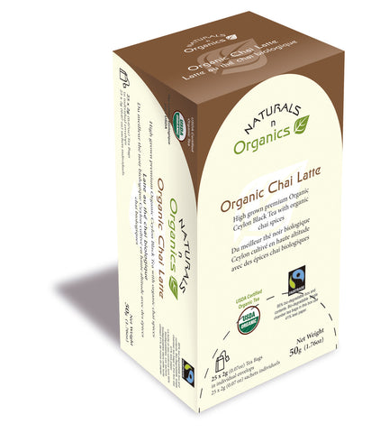 NNO Organic Chai Latte Natural Fiber Tea Bag USDA Certified Organic High Grown Premium Organic Ceylon Black Tea With Organic Chai Spices Fairtrade Certified Tea 95% Biodegradable Box And Bags Naturals n Organics Petit Tea