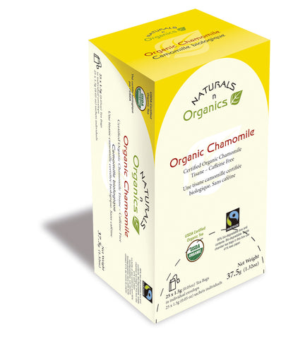 NNO Organic Chamomile Tea Tisane Caffeine Free Natural Fiber Tea Bag USDA Certified Organic Fairtrade Certified Tea Fair Trade Tea 95% Biodegradable Box And Bags Naturals n Organics Petit