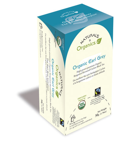 NNO Organic Earl Grey Natural Fiber Tea Bag USDA Certified Organic High Grown Premium Organic Bergamot Flavoured Ceylon Black Tea Fairtrade Certified Tea Fair Trade Tea 95% Biodegradable Box And Bags Naturals n Organics Petit Tea