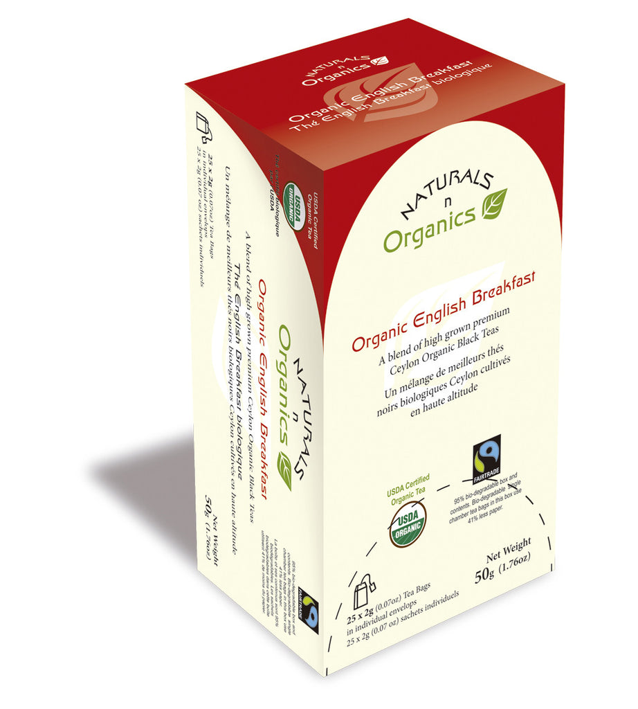 NNO Organic English Breakfast Natural Fiber Tea Bag USDA Certified Organic Blend Of High Grown Premium Ceylon Organic Black Teas Fairtrade Certified Tea Fair Trade Tea 95% Biodegradable Box And Bags Naturals n Organics Petit Tea