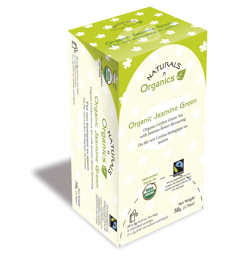 NNO Organic Jasmine Green Tea Natural Fiber Tea Bag USDA Certified Organic Ceylon Green Tea With Jasmine Flower Flavouring Fairtrade Certified Tea Fair Trade Tea 95% Biodegradable Box And Bags Naturals n Organics Petit Tea