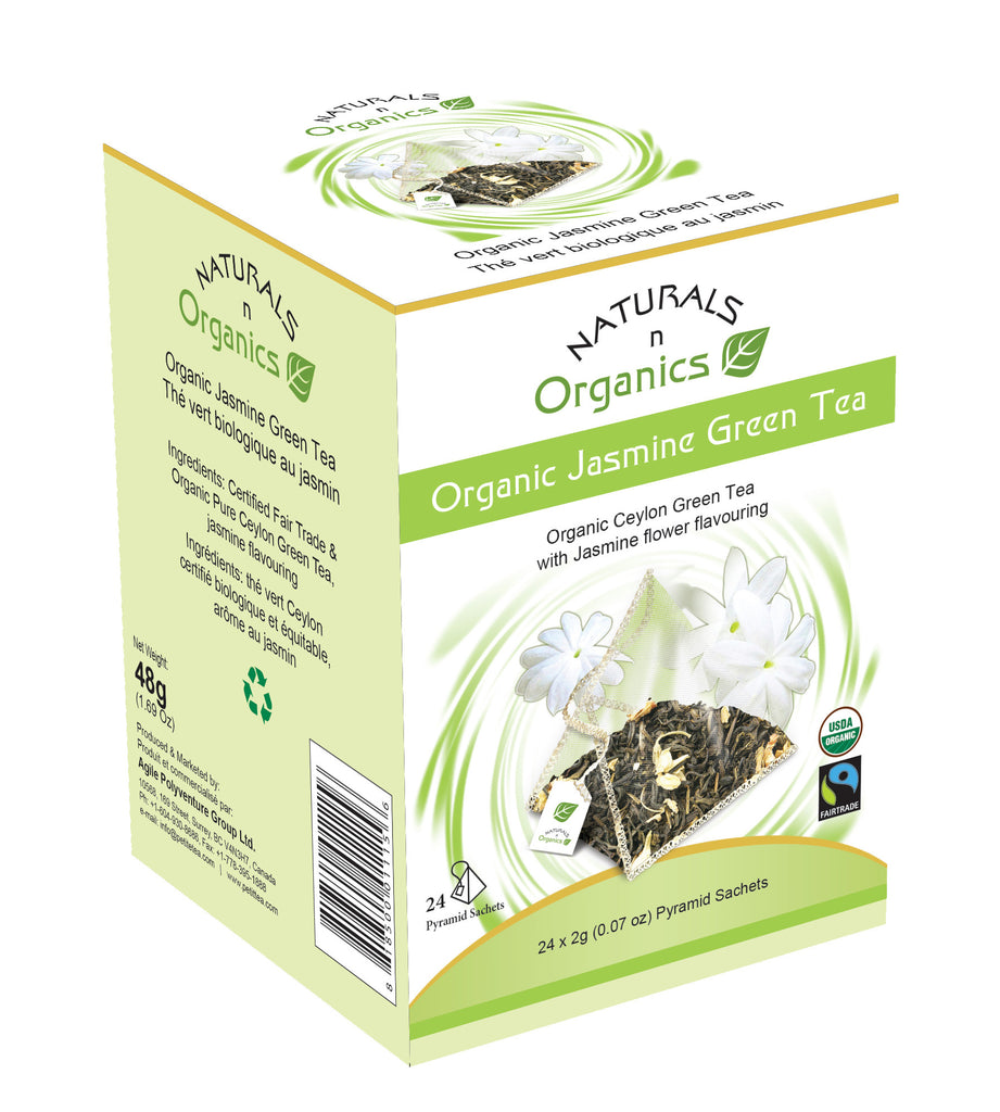 NNO Organic Jasmine Green Tea Pyramid Sachets Organic Ceylon Green Tea With Jasmine Flower Flavouring USDA Certified Organic and Fairtrade Certified Fair Trade Tea Naturals n Organics Petit Tea