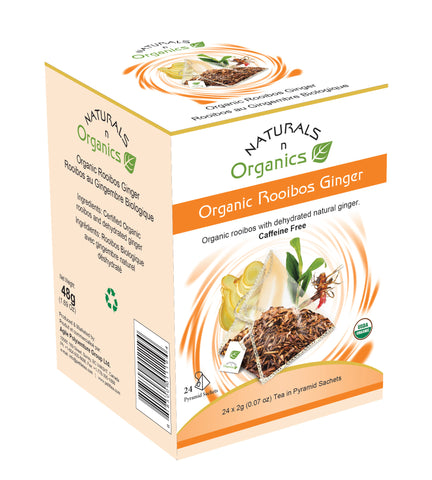 NNO Organic Rooibos Ginger Tea Pyramid Sachets Caffeine Free USDA Certified Organic Rooibos With Dehydrated Natural Ginger Naturals n Organics Petit Tea
