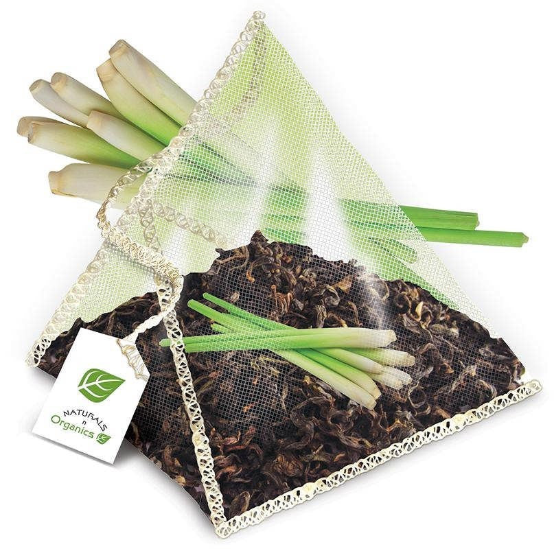 NNO Organic Lemon Grass Green Tea Pyramid Sachets USDA Certified Organic Green Ceylon Tea With Lemon Grass Fairtrade Certified Tea Fair Trade Tea Naturals n Organics Petit Tea