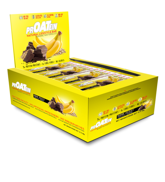 banana chocolate protein bar box