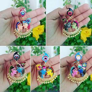 Latest Hand Painted Radha Krishna Earrings