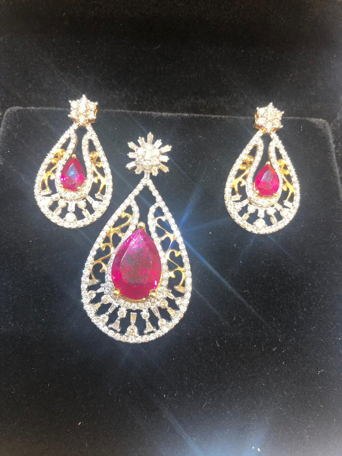 18k Diamond Ruby Pendant With Earrings