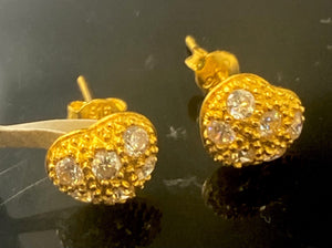 22k Earring Solid Gold Ladies Simple Heart Design E6695 - Royal Dubai Jewellers