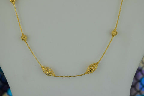 22k Chain Solid Gold Ladies Necklace Elegant Snake And Beads Design C3526m - Royal Dubai Jewellers