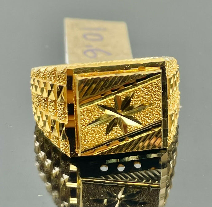 22k Ring Solid Gold Men Jewelry Simple Square Signet with Star Design R2100z