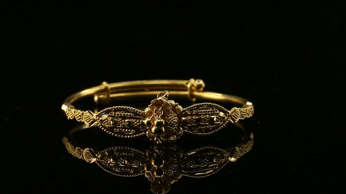 22k Bangle Solid Gold ELEGANT Children Bangle Adjustable Size 1.7 inch CB1192