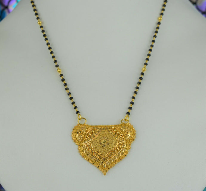 22k Mangalsutra Solid Gold Traditional Ladies Filigree Necklace Design C086