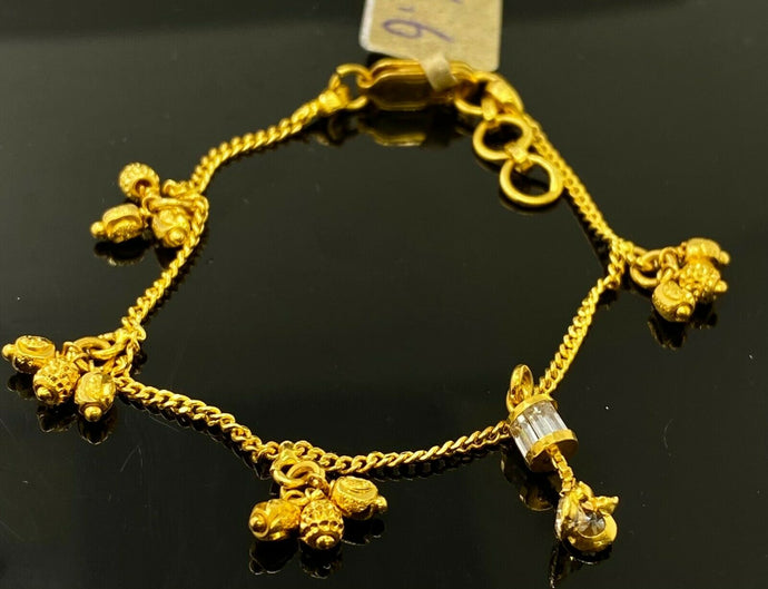 22k Bracelet Solid Gold Children Jewelry Simple Bread Charms Design CB1147