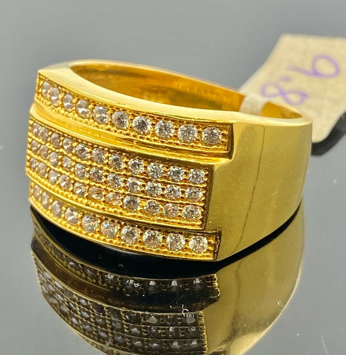 22k Ring Solid Gold Men Jewelry Classic Stone Encrusted Design R2200 - Royal Dubai Jewellers