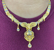 22k Necklace Set Beautiful Solid Gold Ladies Two Tone Floral Design LS997 - Royal Dubai Jewellers