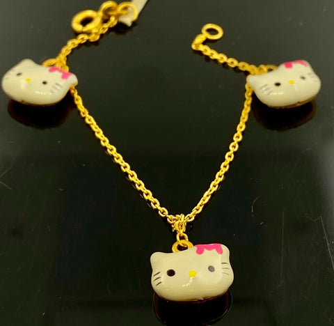 22k Bracelet Solid Gold Children Jewelry Simple Cat Design B9972
