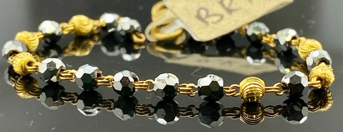 22k Bracelet Solid Gold Children Jewelry Simple Two Tone Link Design BR14