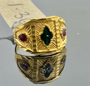 22k Ring Solid Gold Children Jewelry Classic Enamel Design R2780