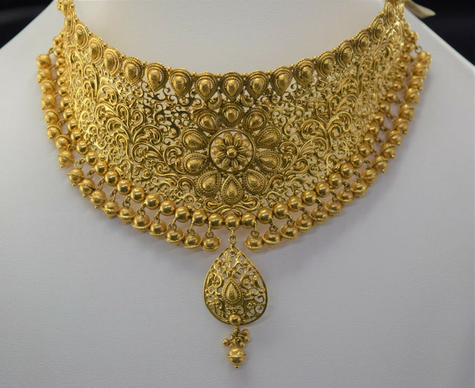 22k Bridal Set Beautiful Solid Gold Ladies Elegant Filigree Choker Design LS1020