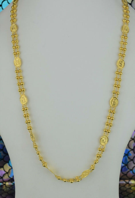 22k Chain Solid Gold Simple Elegant Long Beads and Oval Charms Design C3562m - Royal Dubai Jewellers