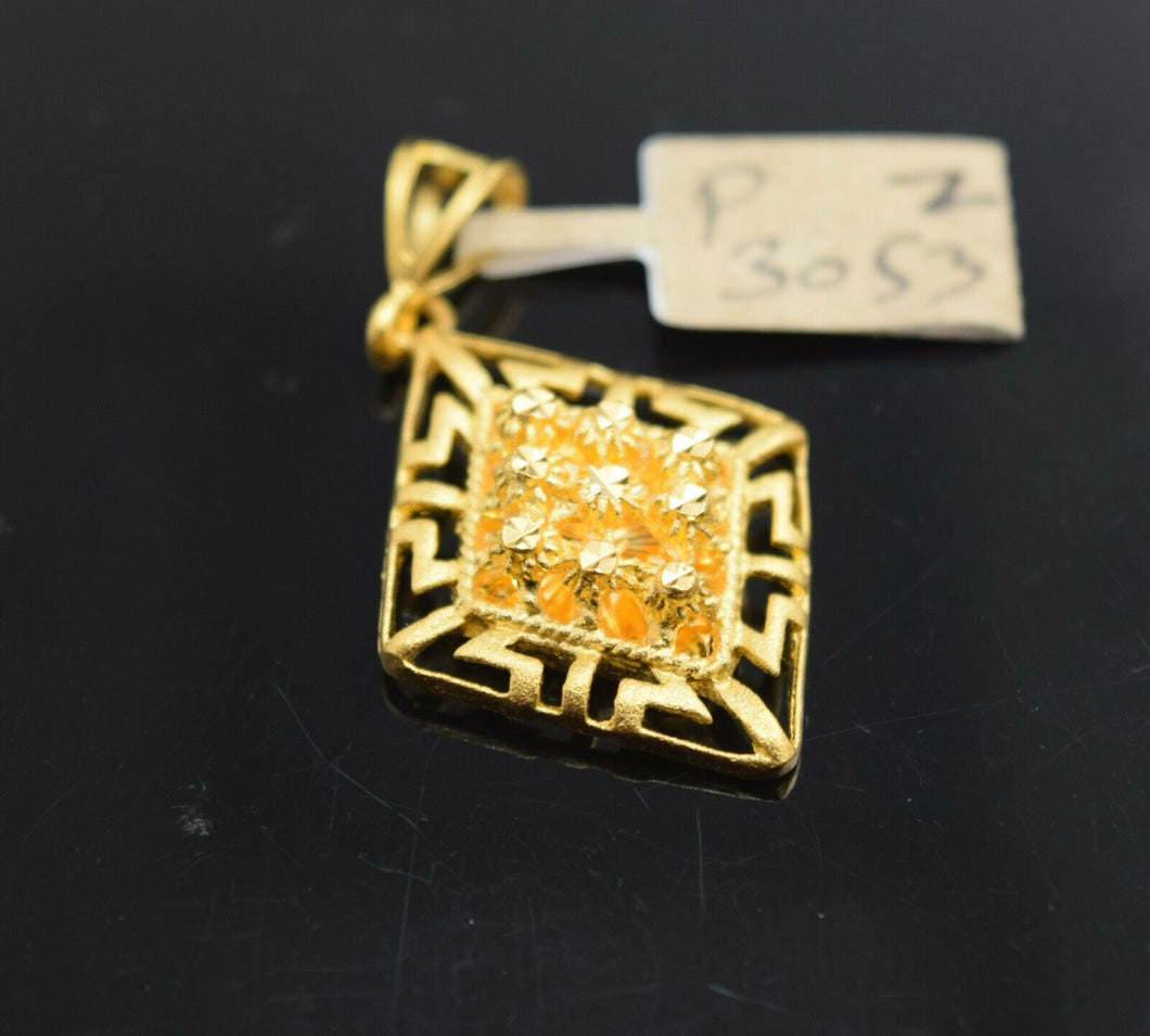 22k Pendant Solid Gold Elegant Simple Diamond Shape Filigree Design P3053z