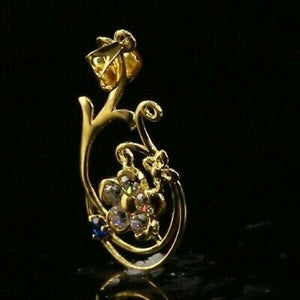22k 22ct Solid Gold ELEGANT Simple Floral Charm LOCKET Pendant P1453