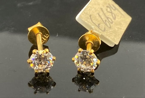 22k Earring Solid Gold Ladies Simple Stud Solitaire Design E6684 - Royal Dubai Jewellers