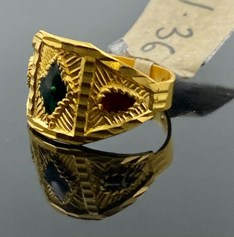 22k Ring Solid Gold Children Jewelry Classic Enamel Design R2780 - Royal Dubai Jewellers