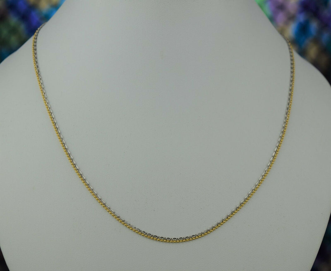 22k Chain Solid Gold Ladies Jewelry Elegant Two Tone Design C3429 - Royal Dubai Jewellers