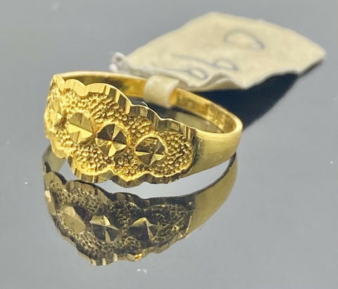 22k Ring Solid Gold Children Jewelry Simple Geometric Pattern Design R1934
