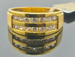 22k Ring Solid Gold Men Band Double Channel With Stone Design R2262 - Royal Dubai Jewellers