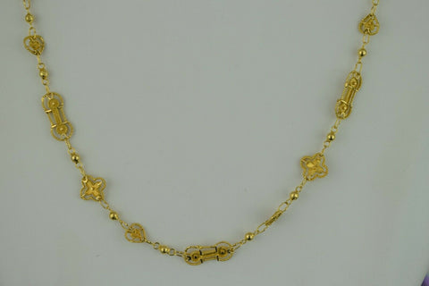 22k Chain Solid Gold Ladies Elegant Snake And Beads with Charms Design C3409 - Royal Dubai Jewellers
