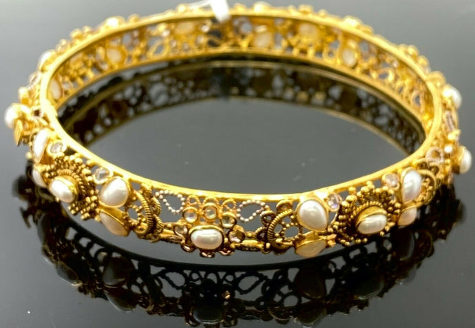 22k Bangle Solid Gold Elegant Classic Filigree With Pearl Insert Design B1201